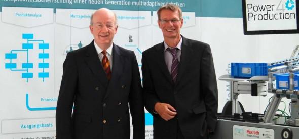 v.l.: Prof. Dr. rer. nat. Dr. h.c. mult. Wolfgang Wahlster, Vorsitzender der Geschäftsführung des DFKI, Prof. Dr.-Ing. Rainer Müller, wissenschaftlicher Geschäftsführer des ZeMA