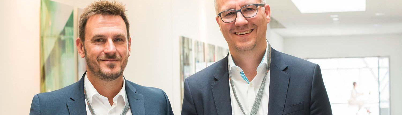 """""""F&E 4.0 bedeutet vor allem eine Digitalisierung. Dazu ist der konsequente Einastz der neuen digitalen Technologien, sowohl im Produkt als auch bei internen Abläufen notwendig"""", geben Dr. Wenzel (li.) und Dr. Schulz zu bedenken."""